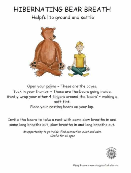 playful breathing exercise for kids- hibernating bear breath