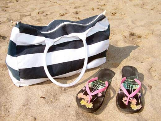 Beach bag and flip flops by my kids are driving me crazy